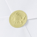 Embossed Gold Dove Seals, pack of 25