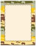 ANIMAL PAPER:  Safari Animals Letterhead