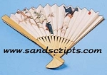 Random design paper fan with bamboo frame