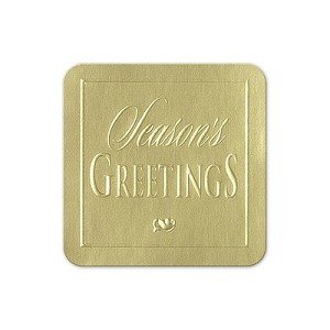 Envelope Seals with Embossed Seasons Greetings - gold - Pack of 25