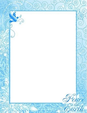 CHRISTMAS PAPER - Peace on Earth Blue Foil