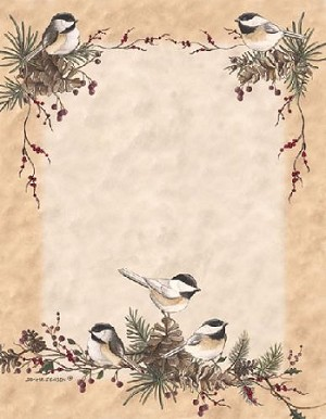 CHRISTMAS PAPER - Chickadees in the Pines