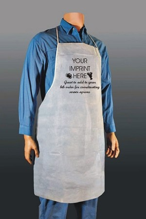 Non-Woven White Adult Aprons - for cake or servers - with one color imprint