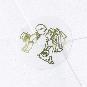 Kissing Bride & Groom Seals - Gold on Clear - pack of 25
