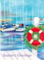 Holiday Cards - Nautical Cards - Nautical Sailboat Dock Pack of 18
