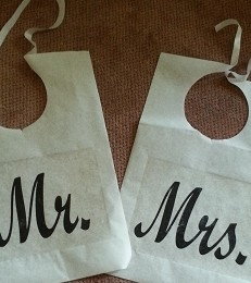 BIB-CAKE-MM-03C  a pair of bibs for the Mr. and Mrs.