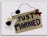 JUST MARRIED SIGN Seals, 25 per sheet