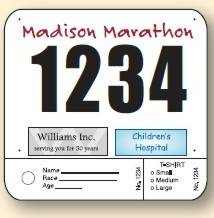 Sports Bibs - Pin on Numbers with 2 tags