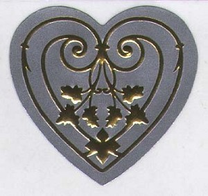 Intricate Embossed Heart Seals, pack of 25