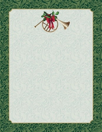 HOLIDAY PAPER:  French Horn Green Damask