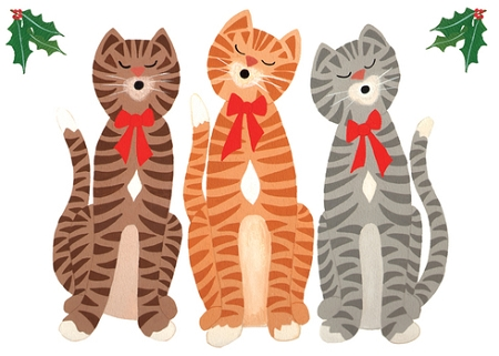 Holiday Cards - Nature - CAROLING CATS