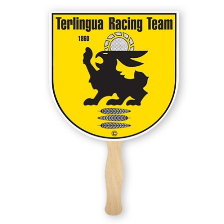 TWO locations or TWO color imprint - Single Paddle Fans - 10 fan minimum - price break at 125 fans