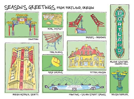 Holiday Cards - Regional Christmas Collection - GREETINGS FROM PORTLAND