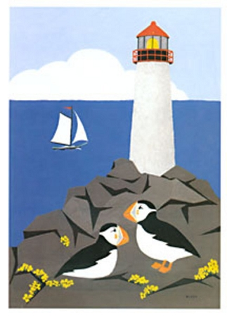 Holiday Cards - Nature - PUFFINS AT SEA