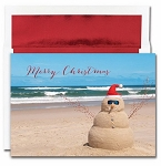 Holiday Cards - Regional Holiday Collection - Beach Snowman