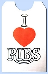 Party Bibs - Cellulose Poly Adult Disposable Extra Long Bibs - I Love Ribs with ties
