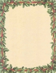 HOLIDAY PAPER:  Red Ribbon & Holly Letterhead