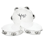 Custom Printed Tambourines - White with Silver