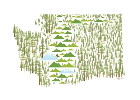 Holiday Cards - Regional Christmas Collection - Washington in Western Hemlock