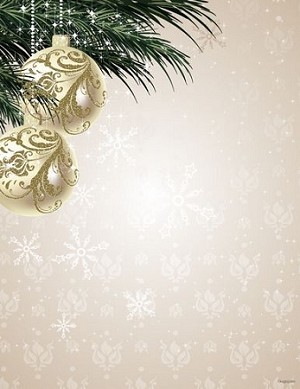 CHRISTMAS PAPER - Ornaments and Pine Gold Foil