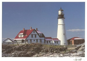 Holiday Cards - Nautical Cards - Light House Portland Head (pack of 10)