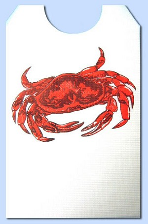Party Bibs - Cellulose Poly Adult Disposable Extra Long Bibs - Crab with ties