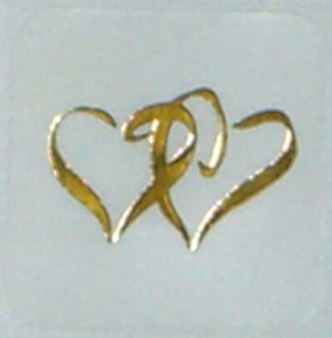 Double Heart Seals - Gold on Clear - pack of 25