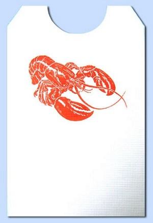 Party Bibs - Cellulose Poly Adult Disposable Extra Long Bibs - Lobster with ties