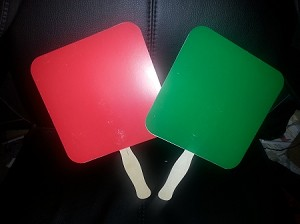 Red on one side - Green on the other side reaction paddles