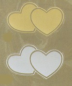 Double Heart Seals - Gold or Silver - pack of 25